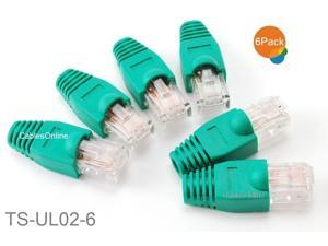 6-Pack 4-Pair Ethernet Loopback Plug, Pinout 1-3,2-6,4-7,5-8 Green, TS-UL02-6