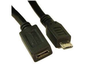 6IN USB 2.0 Micro-B 5-Pin EXTENSION Male/Female Cable  Nickel Plated