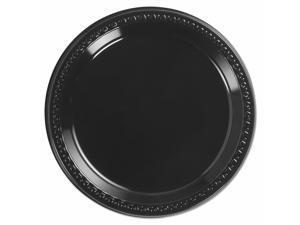 "Chinet Heavyweight Plastic Plates 9"" Diamter Black 125/Pack 4 Packs/CT 81409"