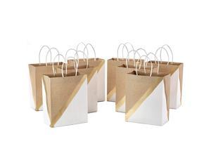"""Hallmark 9"""" Medium Paper Gift Bags (Pack of 8 - White & Kraft) for Birthdays, Weddings, Easter, Mothers Day, Graduations, Baby Showers, Bridal Showers, Care Packages"""