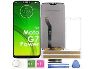 """G7 Power LCD Screen Replacement Touch Display Digitizer Assembly 6.2"""" 157mm (Black) for Motorola Moto G7 Power XT1955-5 XT1955-6 6.2 inch with Repair tools and screen protector (US Version)"""