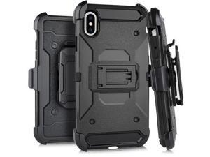 "For iPhone XS Max (6.5"") - HARD HYBRID ARMOR CASE BLACK HOLSTER with BELT CLIP"