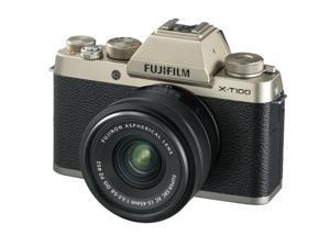Fujifilm X-T100 Mirrorless Digital Camera, Gold w/XC15-45mm PZ OIS Lens