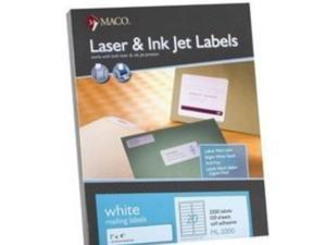 """Maco ML2000 1"""" x 4"""" Labels Laser/Inkjet 2000 Labels/bx  20 Labels/sheet 40 Packs"""