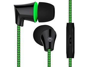 HyperGear Sound Wavez Earphones, In-line Mic for Hands-free Calls & Music, Blocks out Noise/Seal in Sound, Tangle-Free Cable & Precision Bass. (Green)