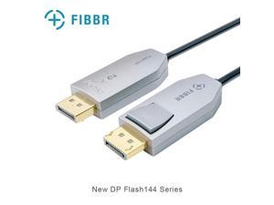 FIBBR DP Cable, Fiber Optic Displayport Cable Support 32.4 Gbps, 8k@60hz, 4K@144Hz, Male to Male Audio Video DP 1.4 Cable Slim and Flexible High Speed DP to DP Cable (6.6ft)