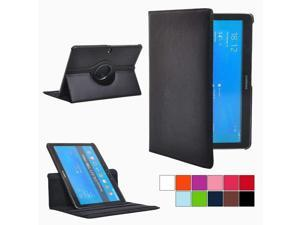 PT Folio Rotating Leather Smart Case Cover for Samsung Galaxy Tab Pro 10.1,Multi-Angle Stand Case for Galaxy Tab Pro 10.1 Tablet SM-T520/T525 P600 (Black)