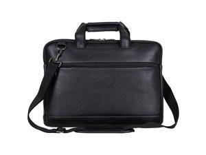 "Kenneth Cole Reaction ProTec Faux Pebbled Leather Slim 16"" Laptop Business Briefcase / Tablet Bag, Black"