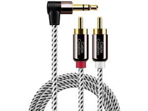 3.5mm to RCA Cable 10FT, CableCreation Angle 3.5mm Male to 2RCA Male Auxiliary Stereo Audio Y Splitter Gold-Plated for Smartphones, MP3, Tablets, Speakers, Home Theater, HDTV, 3M