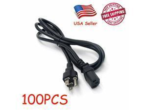 100pcs Power Cord Cable Desktop Computer 6feet IEC320 3-Prong Design Heavy Duty