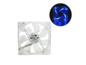 Blue Quad 4-LED Light Quite Clear 120mm PC Computer Desktop Case Cooling Fan