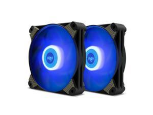 2-Pack Aigo X1 120mm Blue LED High Airflow Hybrid-Design PC Case Computer Fan