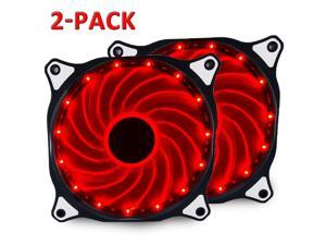 2x 120mm DC 15 LED Cooling Case Fan for PC Computer,Quiet Edition CPU Red