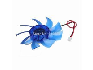 2pcs  75mm DC 12V 2 Pins Blue Plastic VGA Cooler Video Card Cooling Fan for PC Computer