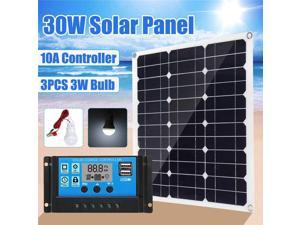 30W Solar Panel 18V+12/24V 10A USB controller+3PCS 3W 12V Led Light Solar Charger Battery for Car Boat Solar System kits