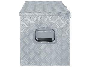 "vidaXL Aluminum Box 43.5""x15.2""x15.7"" Silver Toolbox Trailer Boxes Organiser"