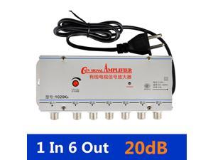US Plug 1 in 6 out CATV TV Video Signal Amplifier AMP Antenna Signal Booster Splitter AC 220V 50-60Hz TV Antenna