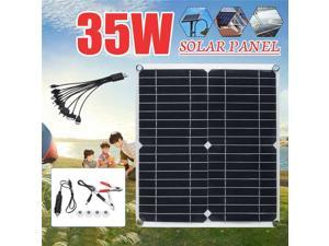 35W Solar Panel 5V Double USB 5 in Monocrystalline Solar Panel with Car Charger for Outdoor Camping Emergency Light