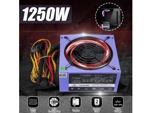 1250W PC Power Supply 12cm LED Fan 24 Pin PCI SATA ATX AMD PFC 12V Computer Gaming Power Supply for PC Desktop