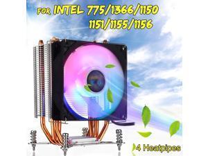 90mm Fan Cooling with RGB Light 4 Heatpipes CPU Cooler Heatsink Radiator for Intel LGA 775/1150/1151/1155/1156/1366