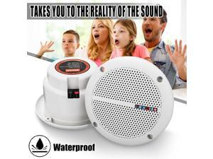 2x 25W Waterproof Ceiling Speaker Syatems 2-Way Flush Mount Home Theater Loundspeaker Amplifier In-Wall/Boat/Car/Marine