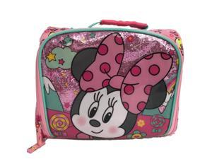 Disney Collection Minnie Mouse Insulated Lunch Box - Kids Glittery Lunch Bag