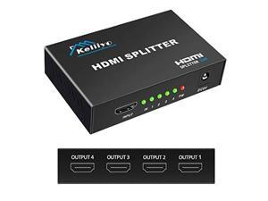 Hdmi Splitter 1 in 4 Out V14b Powered Hdmi Video Splitter with AC Adaptor DuplicateMirror Screen Monitor Supports Ultra HD 1080P 2K and 3D Resolutions 1 Input to 4 Outputs