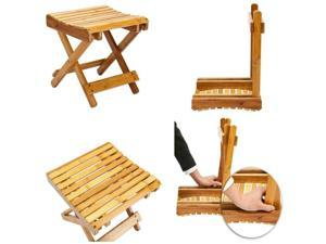Natural Bamboo foldable stool-seat-chair-plant stand Living Room Bath Wood NEW