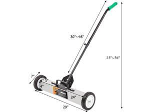 """24/36"""" Magnetic Floor Sweeper Scrap Screw Rolling Pick Up Roller Push Broom"""