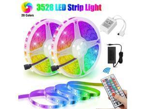 32.8FT 25M RGB 3528 SMD 600 LED Strip Light 44 Key Remote 12V DC Power Full Kit