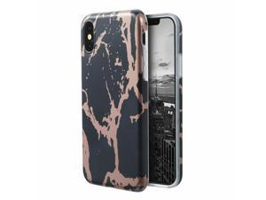 For iPhone X Black  Rose Gold Marble Soft Skin Case