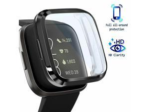 For  Versa 2 Screen Protector with Soft TPU Rubber Case Bumper Clear/Black