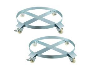 2pcs Drum Dolly 55 Gallon With 4 Caster Wheels Wing Cross Straps Easy Moving