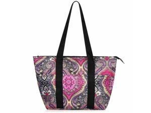 Insulated Lunch Tote Double handles Bag For Picnic Food Box - Purple Paisley