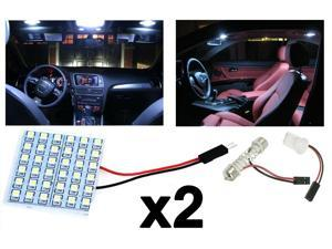 2x T10 Festoon 36-SMD HID Xenon White LED Panel Interior Dome Replacement Light