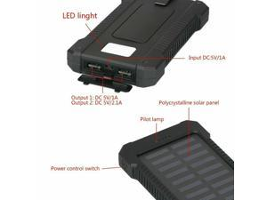 900000mAh Huge Capacity Solar Portable Power Bank 2USB External Battery Charger