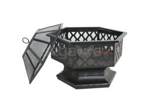 Outdoor Fire Pit Backyard Fireplace Campfire Po Wood Burning Hex Shaped Bowl