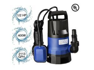 1/2  2112GPH 400W Submersible Water Pump Swimming Pool Dirty Flood Sump Pump