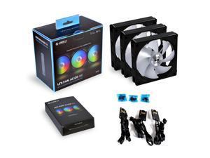 Lianli UNI fan AL120 daisy chain 3 packs black with controller (ARGB 120mm LED PWM daisy chain) UF-AL120-3B PC cooling computer ARGB case fan heat sink (black)