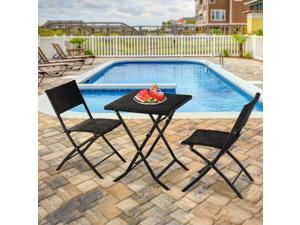 3PC Outdoor Furniture Po Rattan Wicker Set Sectional Chair Table Garden Yard
