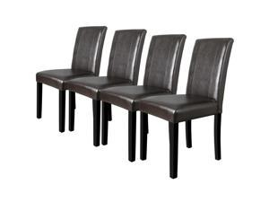 Dining Parson Chairs High Brown PU Leather Set of 4 Elegant Design Home Kitchen