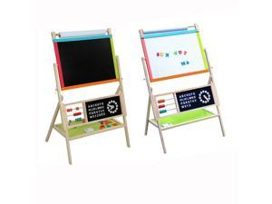 Large Size All In One Kids Wooden Art Easel Double Side w/ Paper Roll & Tray
