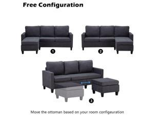 Cotton  Linen Sectional Sofa L-Shaped Couch with Reversible Chaise Small Space