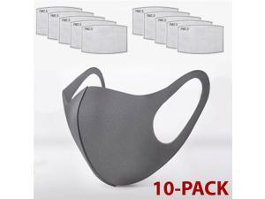 1PCS Face Mask Black With 10X PM2.5 Filters Washable Reusable Unisex Mask Cotton