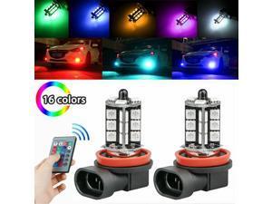 2pcs H11 H9 H8 27SMD 5050 16Color RGB LED Fog Lights Driving Bulbs Lamp + Remote
