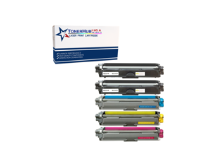 TONERHUBUSA Compatible Toner Cartridge Replacement for Brother TN221/TN225 (5-Pack/Black, Cyan, Yellow, Magenta)