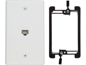 Buyer's Point 1 Port Cat6 Wall Plate, Female-Female  with Single Gang Low Voltage Mounting Bracket Device 1 Port White