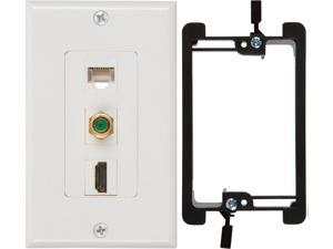 Buyer's Point HDMI 3GHz Coax Ethernet Wall Plate [UL Listed] with Single Gang Low Voltage Mounting Bracket Device White Kit