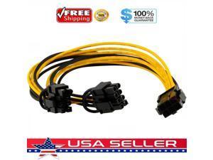 PCI-E 6-pin to 2x 6+2-pin 6-pin/8-pin Power Splitter Cable PCIE PCI Express US