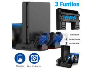 For PS4 Pro / Slim Vertical Stand + Cooling Fan Controller Charging Dock Ston